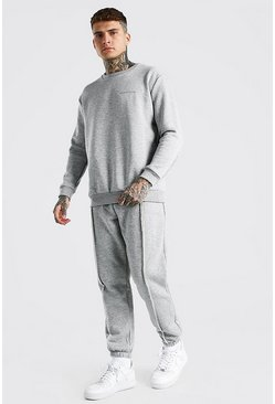 Grey marl MAN Official Raw Seam Sweater Tracksuit