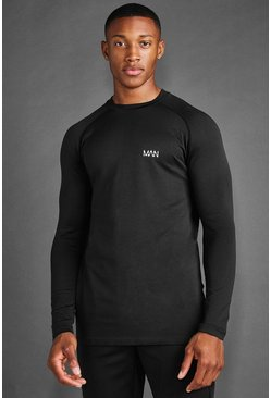 MAN Active Seamless Long Sleeve T-shirt, Black