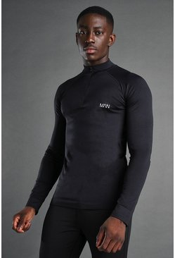 MAN Active Seamless 1/4 Zip Pullover, Black