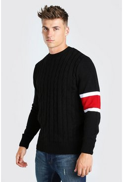 Black Cable Knit Jumper With Stripe Detail