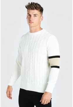 Cream Cable Knit Jumper With Stripe Detail