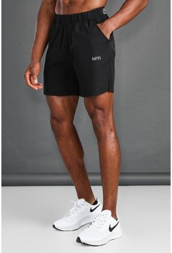 Black MAN Active Short With Waistband Detail