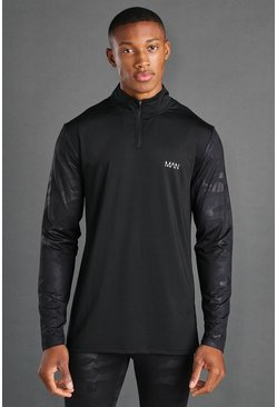 Black MAN Active Fabric Interest Muscle Fit 1/4 Zip Top