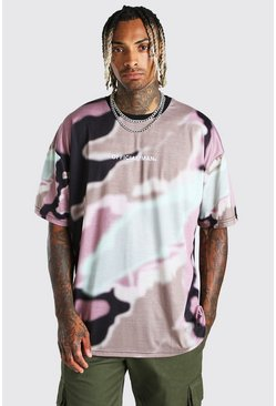 Green Oversized Official MAN Abstract Camo Print T-Shirt