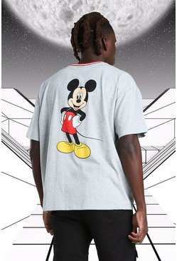 Oversized Disney Mickey MAN Ribbed T-Shirt, Grey marl