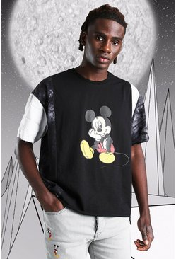 Oversized Disney Mickey Spliced T-Shirt, Black