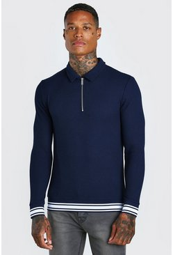 Navy Muscle Fit Long Sleeve Knit Polo With Stripes