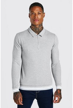 Grey marl Muscle Fit Long Sleeve Knit Polo With Stripes
