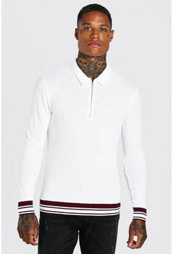 White Muscle Fit Long Sleeve Knit Polo With Stripes