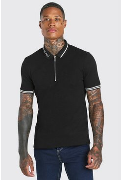 Black MAN Muscle Fit Short Sleeve Contrast Collar Polo