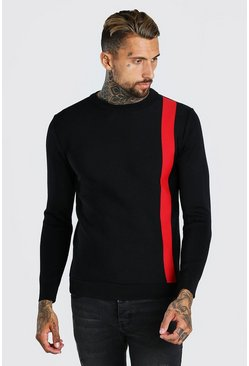 Black Muscle Fit Stripe Knitted Sweater