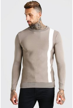 Taupe Muscle Fit Stripe Knitted Sweater