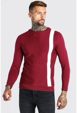 Burgundy Muscle Fit Stripe Knitted Sweater