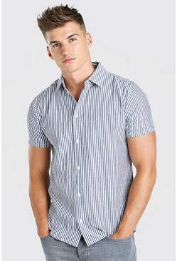 Blue Stripe Short Sleeved Seersucker Shirt