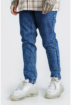 Mid blue Tapered Acid Wash Jeans