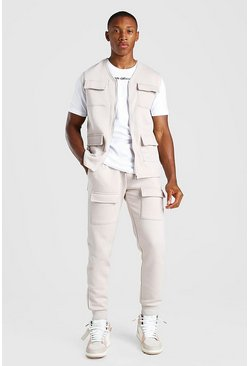 MAN Official 3 Piece Utility Vest T-Shirt And Jogger, Nude