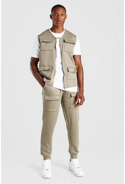 Green MAN Official 3 Piece Utility Vest Tshirt And Jogger