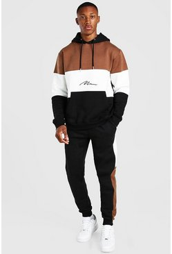 Black MAN Signature Colourblock Tracksuit