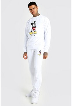 White Disney Angry Mickey Print Tracksuit