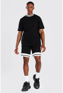 Black Contrast Rib T-shirt & Short Set