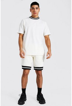 Ecru Contrast Rib T-shirt & Short Set