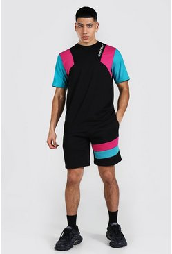 Man Official Colour Block T-shirt & Short Set, Black