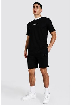 Man Signature Contrast Rib Tee & Short Set, Black