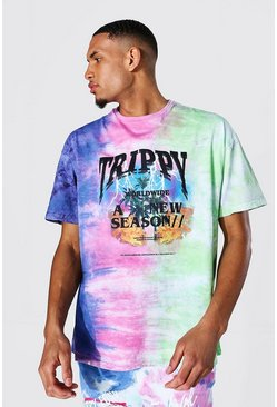 Tall Oversized Trippy Tour Tie Dye T-shirt, Multi
