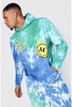 Blue Tall Oversized Trippy Funk Tie Dye Hoodie