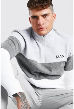 Original MAN Colour Block Funnel Neck Sweater, Grey