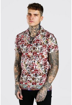 Multi Short Sleeve Revere Floral Border Print Shirt