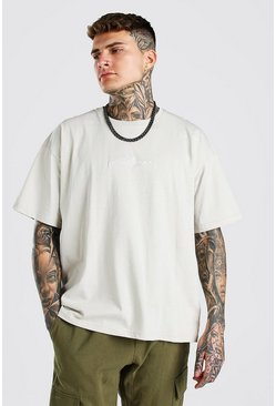 Nude Oversized MAN Signature Embroidered T-Shirt