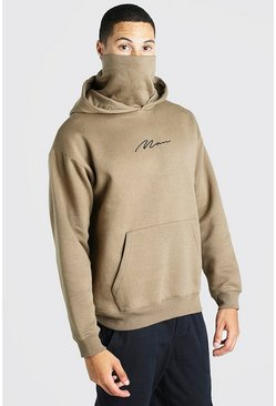 Oversized MAN Signature Snood Hoodie, Green