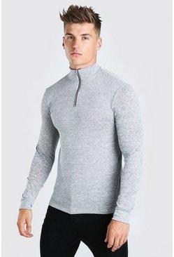 Grey Half Zip Funnel Neck Sweater