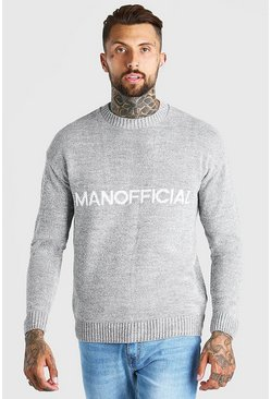 Grey marl Man Official Crew Neck Loose Fit Sweater