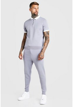 Light grey Short Sleeve Contrast Knitted Polo And Jogger