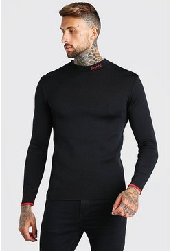 MAN Dash Muscle Fit Knitted Jumper , Black