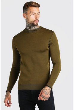 MAN Dash Muscle Fit Knitted Jumper , Khaki