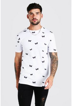 White Muscle Fit Butterfly Print T-Shirt