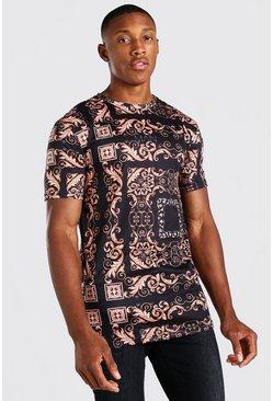 Navy Muscle Fit Original MAN Baroque Print T-Shirt