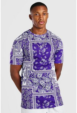 Muscle Fit Original MAN Paisley Print T-Shirt, Blue