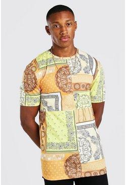 Yellow Muscle Fit MAN Signature Paisley Print T-Shirt
