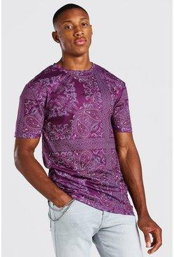 Purple Muscle Fit MAN Signature Paisley Print T-Shirt