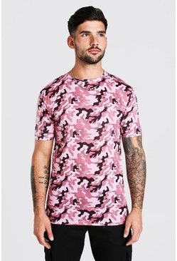 Burgundy Muscle Fit Camo Print T-Shirt