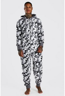 Grey MAN Camo Print Onesie With Hood