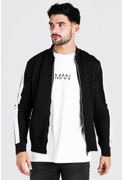 Black Contrast Stripe Knitted Bomber