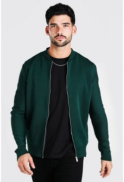 Green Contrast Stripe Knitted Bomber