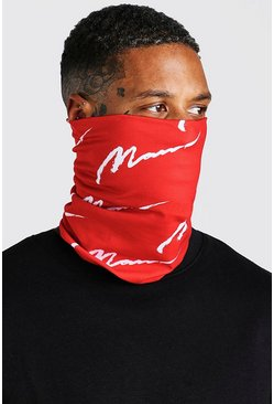 Red MAN Script Print Snood