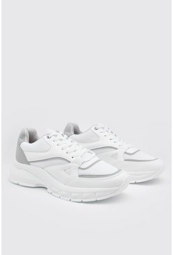 Chunky Panelled Trainers, White