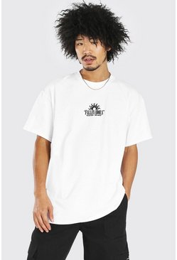 White Oversized Fallen Idols Front And Back Print T-Shirt